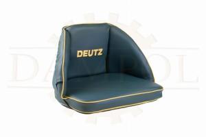 Sitzpolster Sitzkissen schwarz für Deutz Traktor Logo gestickt Kunstleder 32 cm